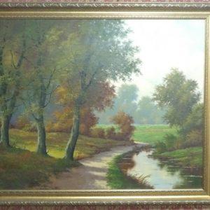 Пейзажная живопись. Аллея у ручья
