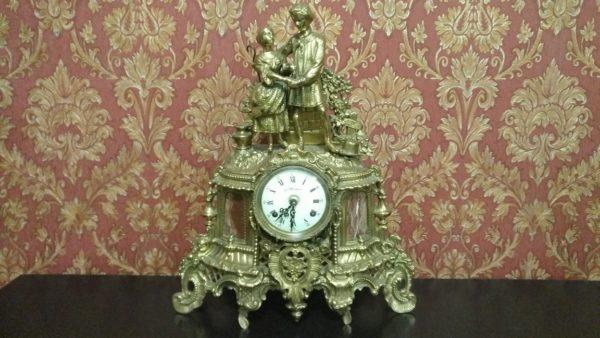 каминные часы из бронзы, каминные часы с боем,антикварные каминные часы, интерьерные часы, антиквариат часы,