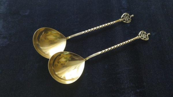 Серебряные ложки с позолотой, столовое серебро продать, столовое серебро украина, серебряные ложки