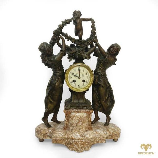 Антикварные каминные часы Амур и две грации, что подарить коллекционеру антиквариата, антикварный магазин винница, купить антиквариат украина, что подарить богатому человеку, подарок статусному мужчине, украшение камина