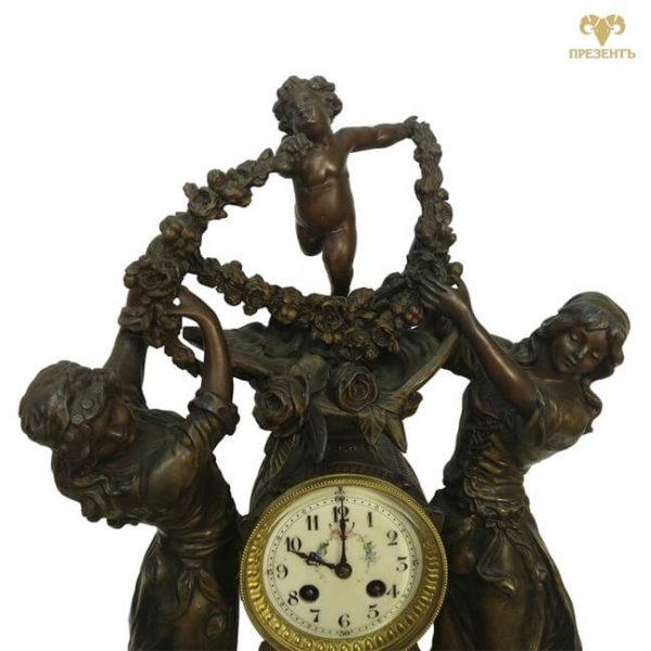 часовой механизм, антикварные каминные часы, купить антиквариат в украине, французские старинные часы, скульптуры шпиатр, часы со скульптурами, амур и грации, эмалевый циферблат