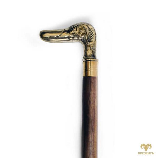 декоративная трость, деревянная трость, что подарить пенсионеру, трость с набалдашником, купить подарок охотнику