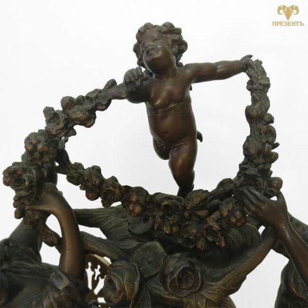 амур бог любви, купить подарок на свадьбу винница, часовой механизм, антикварные каминные часы, купить антиквариат в украине, французские старинные часы, скульптуры шпиатр, часы со скульптурами, амурчик