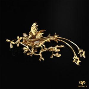 Роскошная золотая брошь с гранатами, кубическим цирконием и эмалью Павлин