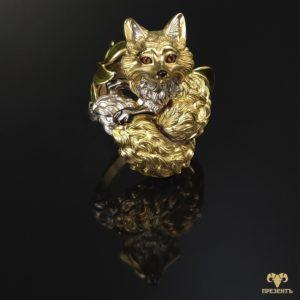 Оригинальное золотое кольцо Лисица