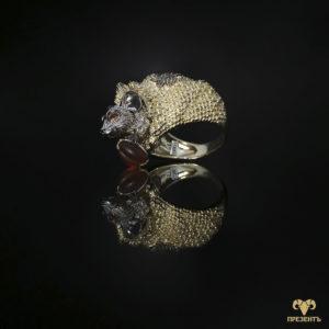 Экстравагантное золотое кольцо Мышка в мешке
