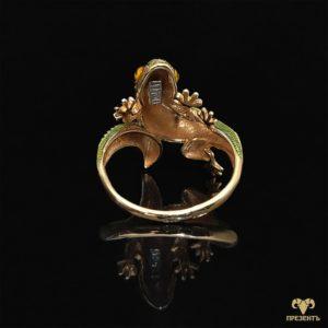 Шикарное золотое кольцо с эмалью Ящерица
