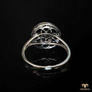 Кольцо из белого золота с эмалью Четырёхлистный клевер