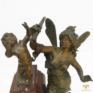 Антикварные каминные часы Амур и Психея