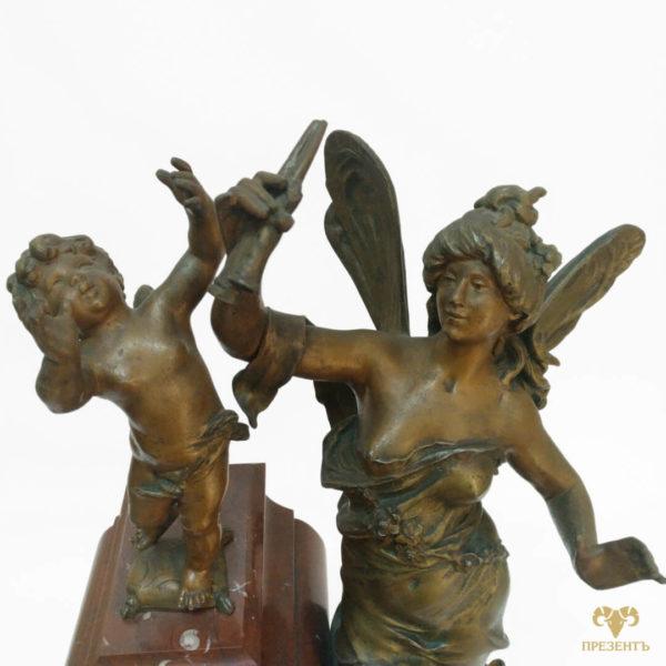 Антикварные каминные часы, греческая мифология, Амур и Психея, купить элитный подарок купить антиквариат Украина