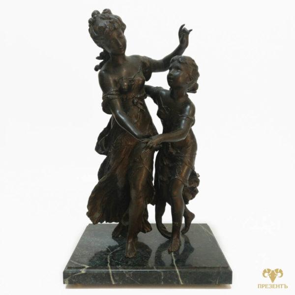 Антикварная шпиатровая статуэтка Танец сестёр, статуэтка две девушки, купить памятный подарок сестре, купить бронзовую скульптуру Украина,