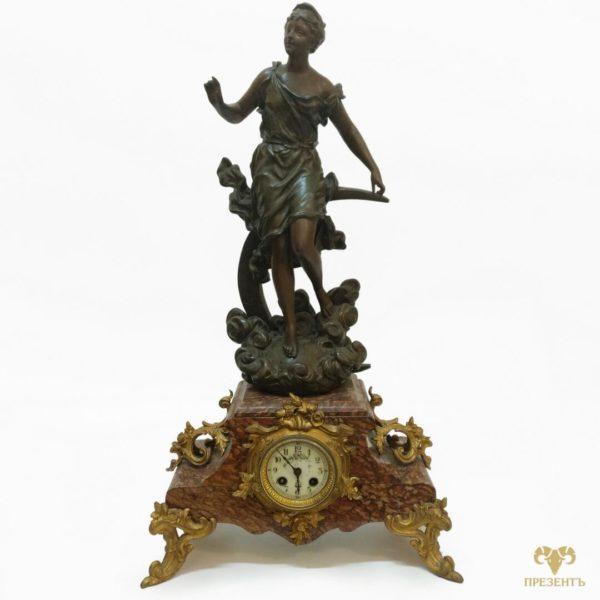 каминные часы шпиатр, каминные часы с боем,Антикварные каминные часы