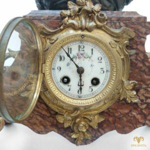 Антикварные каминные часы Богиня Селена