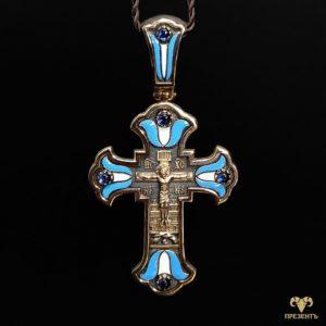 Роскошный золотой крест с сапфирами, эмалью и чернением