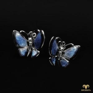 Романтичесикие золотые серьги и кольцо Бабочки