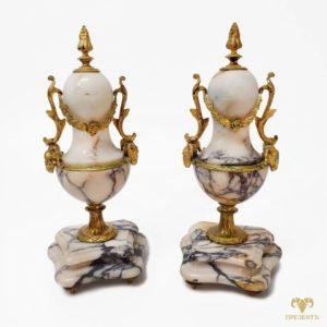 Антикварные каминные вазы с позолотой
