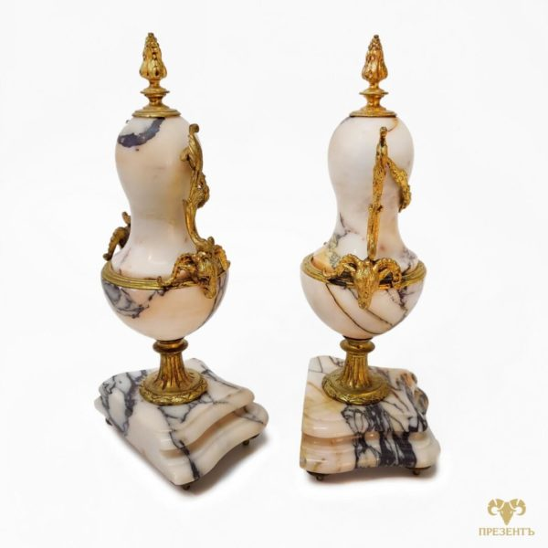 Каминные вазы с позолотой, купить антиквариат украина,каминные часы