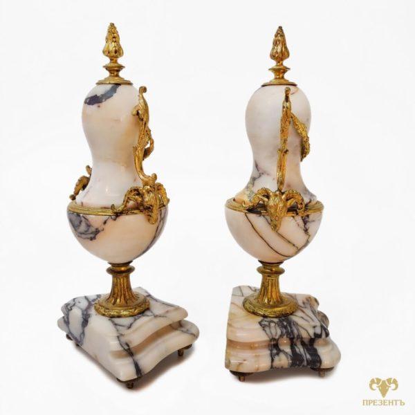мраморные каминные статуэтки, мраморные вазы с бронзой, статусный подарок