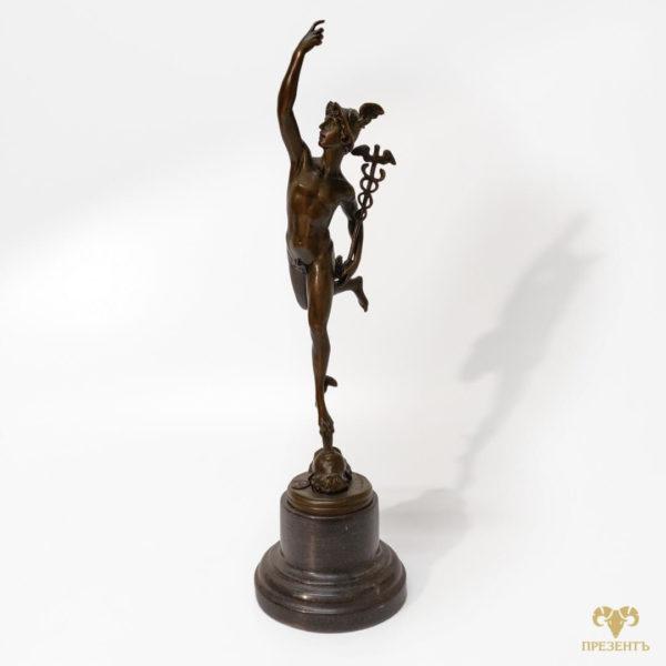 Бронзовая скульптура Меркурий, бронзовая статуэтка, купить подарок предпринимателю, купить подарок коллекционеру антиквариата, подарок бизнесмену