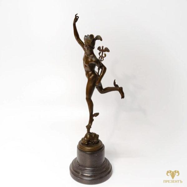 Бронзовая скульптура Меркурий – бог торговли, бронзовая статуэтка, купить подарок предпринимателю, купить подарок коллекционеру антиквариата, подарок бизнесмену