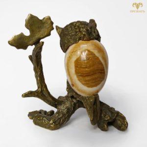 Бронзовая статуэтка Сова на ветке, камень агат