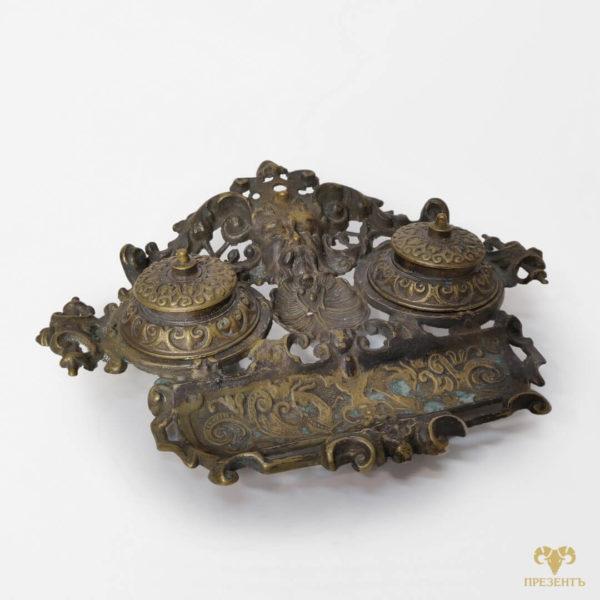 чернильница, подарок боссу, бронзовая чернильница, письменный набор для чернил