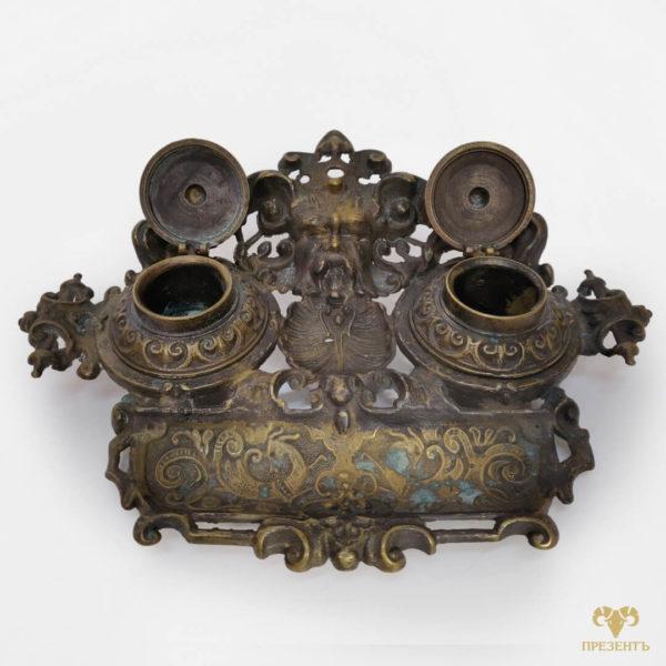 купить бронзовую чернильницу, подарок начальнику, украшение для рабочего стола, купить антиквариат украина