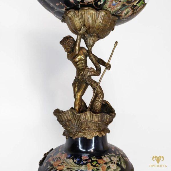черная фруктовница, элегантная ваза, подарок на свадьбу украина, подарок на юбилей киев
