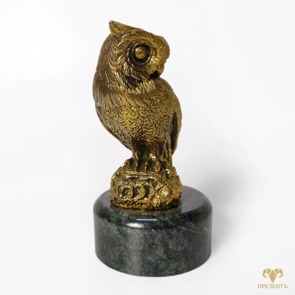 бронзовая статуэтка совы, сова на подарок, что подарить бизнесмену, символический подарок близкому человеку, купить скульптуру совы