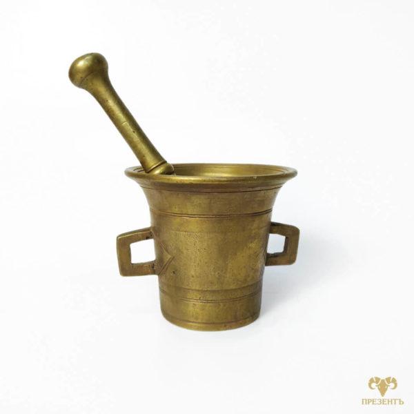 ступка с пестиком бронза, ступка для специй, емкость для размалывания специй, антикварная ступка для специй, стариннач бронзовая ступка