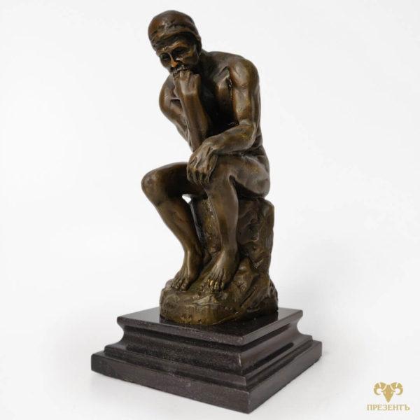 скульптура думающего человеку, статуэтка мыслителя,подарок настоящему мужчине, подарок полковнику, подарок мужчине лидеру, подарок большому начальнику