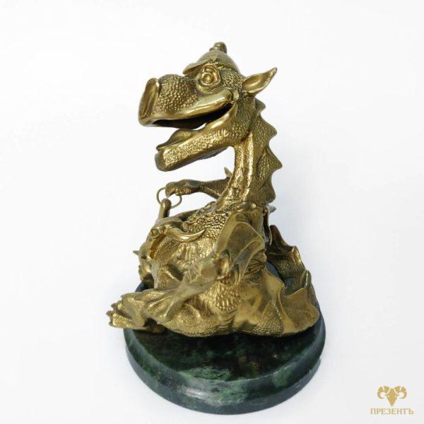 фигурка дракон купить, подарок рожденному в год дракона, год дракона, статуэтка дракона фигурка, бронзовый дракон с булавой