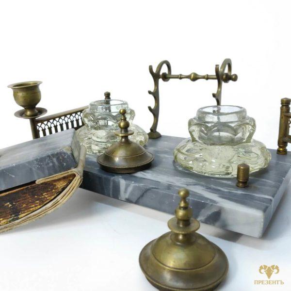 старинный письменный набор, старинный набор с чернилами, подарок успешному человеку, рабочий стол руководителя,