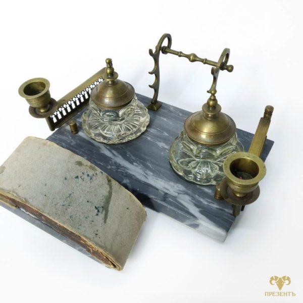 бронзовая чернильница, старинная чернильница, антикварный письменны набор, уникальный подарок боссу, украшения для рабочего стола, подарок в рабочий кабинет,