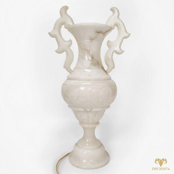 ваза-светильник из мрамора, светильник из мрамора, светильник из камня, оригинальный светильник, оригинальный ночник
