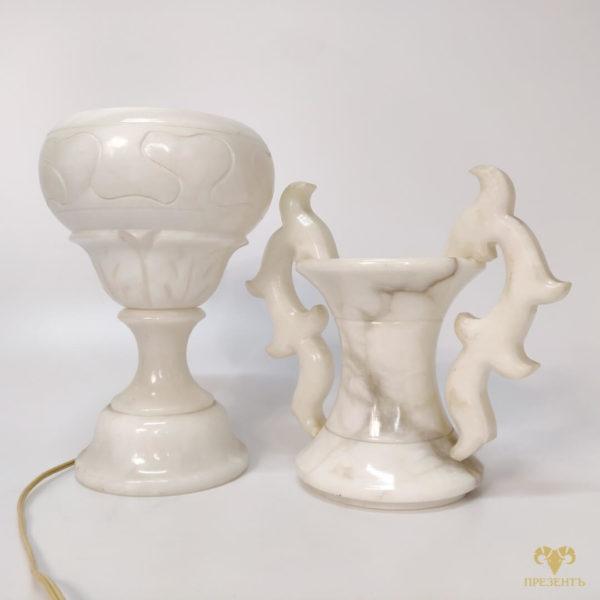 лампа из мрамора, мраморная лампа, светильник из мрамора, ночник из мрамора, ваза-светильник