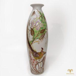 Антикварная фарфоровая ваза с птицей
