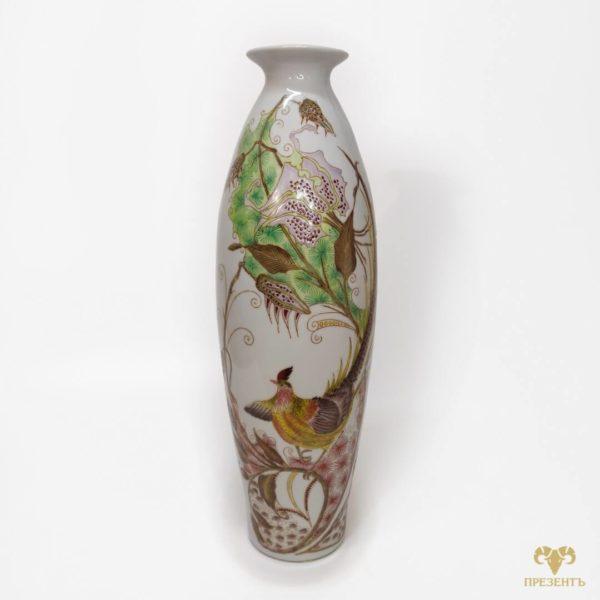 фарфоровая ваза с птицей, элитная посуда, посуда, ваза, керамика, атиквариатн