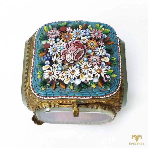 эффектный подарок девушке, оригинальная шкатулка для украшений, подарок коллекционеру антиквариата, шкатулка смальта, необычная шкатулка для украшений