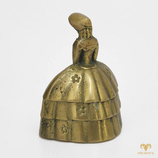 бронзовый колокольчик, металлический колокольчик, колокольчик с дамой,колокольчик с девушкой, оригинальный подарок жене, оригинальный подарок ресторатору, подарок владельцу гостиницы,